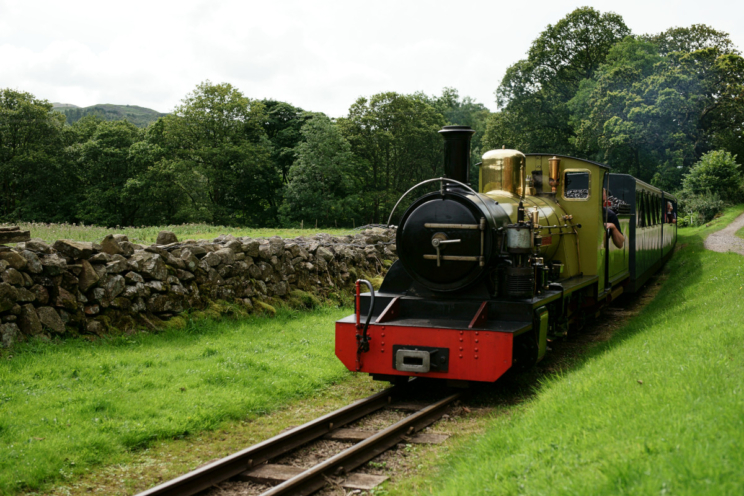 The Ravenglass & Eskdale Railway train approaches Dalegarth. Photo by Peter Trimming